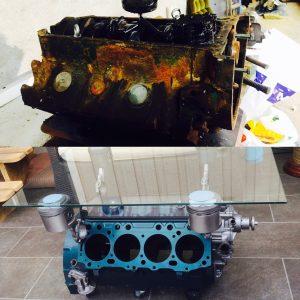 V8 bordet før og etter